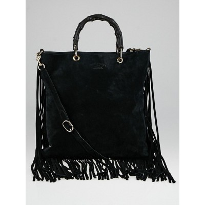 Gucci Black Suede Fringe Bamboo Top Handle Shopping Tote Bag ...