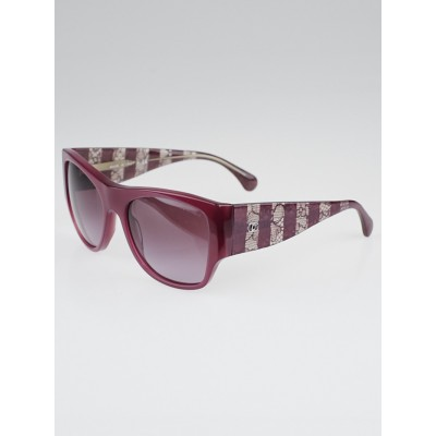 Chanel Burgundy Lace Frame Sunglasses -5297