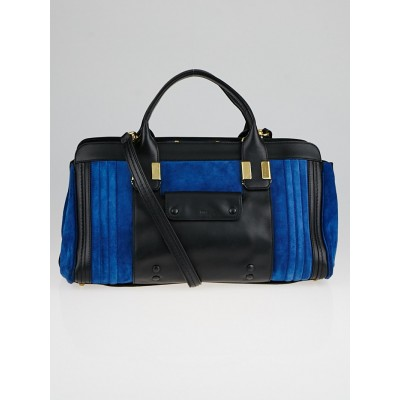 Chloe Royal Navy/Black Suede and Leather Alice Medium Satchel Bag