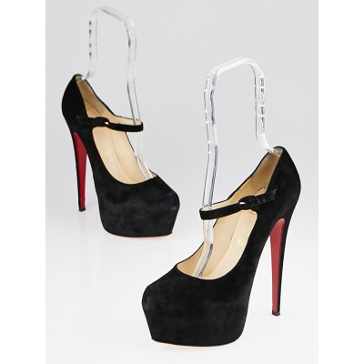 Christian Louboutin Black Suede Lady Daf 160 Mary Jane Platform Pumps Size 8.5/39