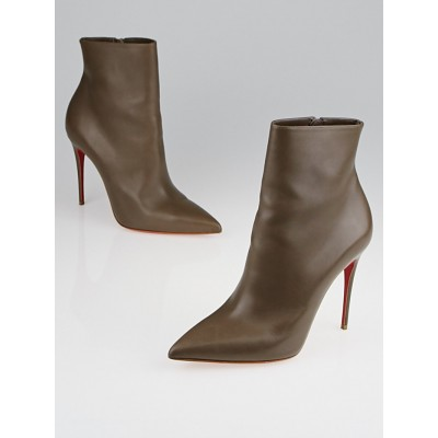 Christian Louboutin Taupe Leather So Kate Booty 100 Ankle Boots Size 7/37.5