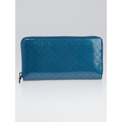 Gucci Turquoise Imprime Patent Leather Zip Around Wallet