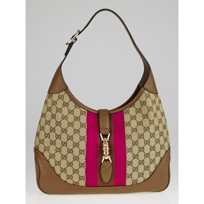 Gucci Brown/Fuchsia GG Canvas Vintage Web New Jackie Shoulder Bag