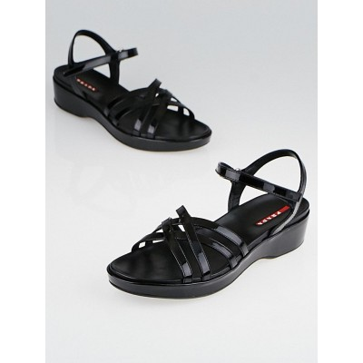 Prada Black Patent Leather Ankle-Strap Sandals Size 7/37.5