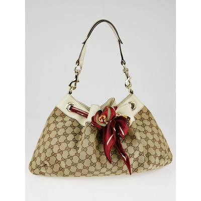 Gucci Beige/White GG Canvas Small Positano Shoulder Bag