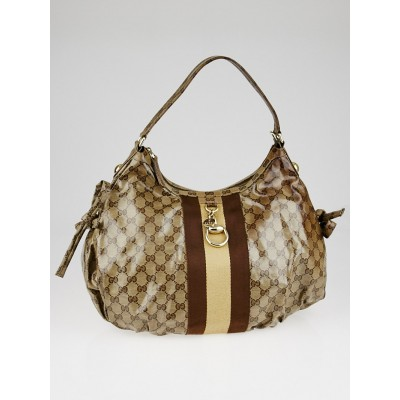 Gucci Beige/Ebony GG Crystal Coated Canvas Vintage Web Hobo Bag