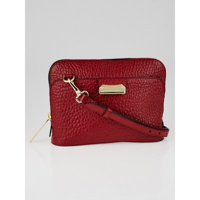 Burberry Red Signature Grain Leather Small Crossbody Bag