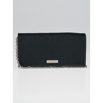 Gucci Black GG Canvas Wallet Chain Clutch Bag