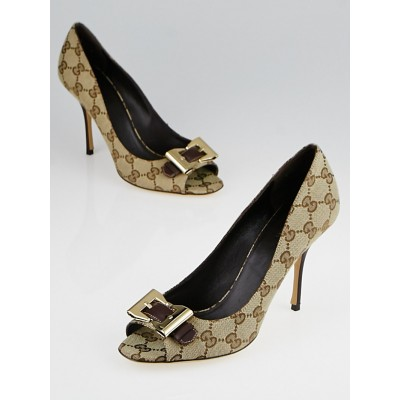 Gucci Beige/Ebony GG Canvas Bow Peep Toe Pumps Size 8