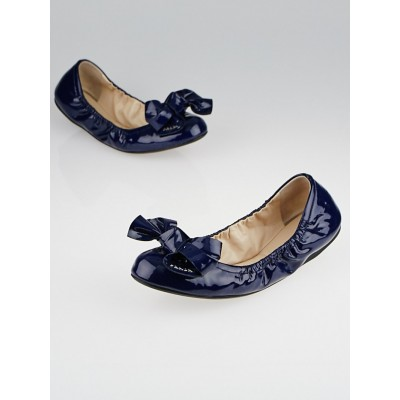 Prada Royal Blue Patent Leather Elastic Bow Ballet Flats Size 9/39.5
