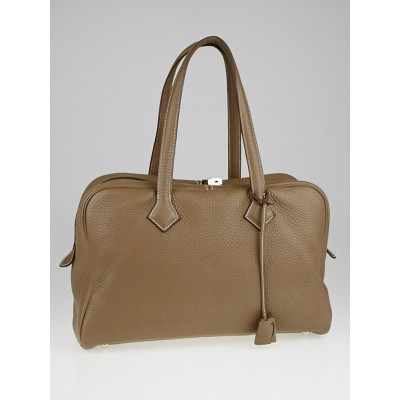 Hermes 35cm Etoupe Clemence Leather Victoria II Bag