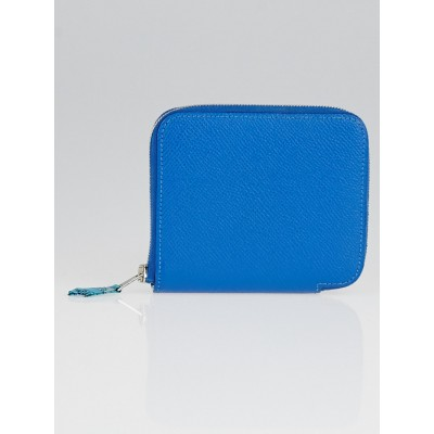 Hermes Blue de Galic Epsom Leather Compact Silk'in Wallet