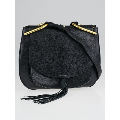 Chloe Black Pebbled Leather Hudson Messenger Bag