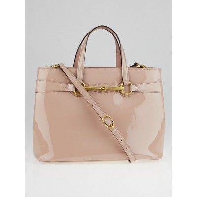 Gucci Beige Patent Leather Soft Bright Bit Medium Top Handle Tote Bag