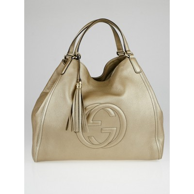Gucci Gold Pebbled Leather Soho Large Tote Bag