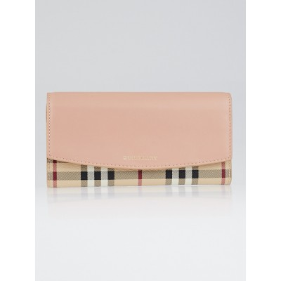 Burberry Pale Coral Pink Leather Haymarket Check Porter Continental Wallet