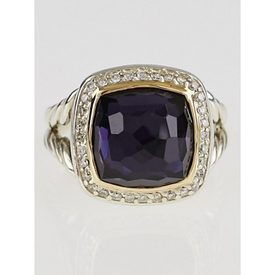 David Yurman 11mm Black Orchid with Diamonds and 18k Gold Albion Ring Size 7