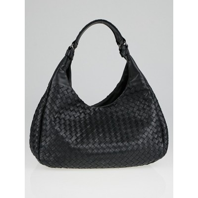 Bottega Veneta Black Intrecciato Woven Nappa Leather Medium Campana Bag