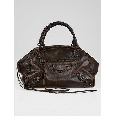Balenciaga Dark Brown Leather Bowling PM Bag