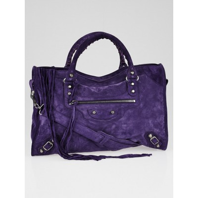 Balenciaga Purple Suede Baby Daim Motorcycle City Bag