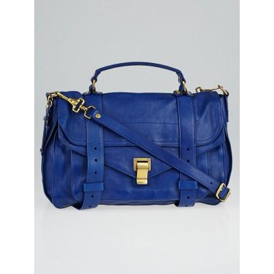 Proenza Schouler Blue Leather Medium PS1 Satchel Bag