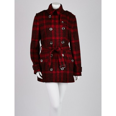 Burberry Brit Red Check Wool Alcester Belted Trench Coat Size 14