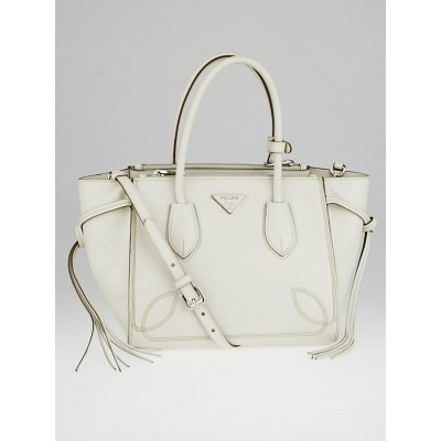 Prada White Soft Calf Leather Top Handle Tote Bag