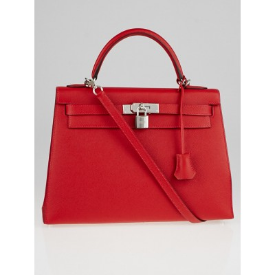 Hermes 32cm Rouge Casaque Epsom Leather Palladium Plated Kelly Sellier Bag