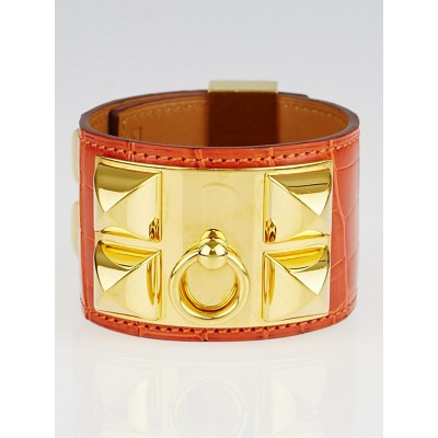 Hermes Pain d'Epice Shiny Lisse Alligator Gold Plated Collier de Chien Bracelet Size S