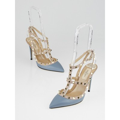 Valentino Grey Leather Rockstud T-Strap Kitten Heels Size 6.5/37