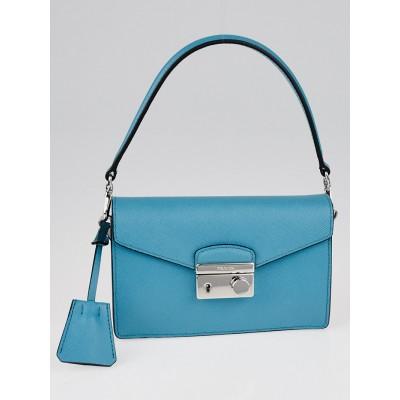 Prada Turchese Saffiano Lux Leather Mini Flap Bag