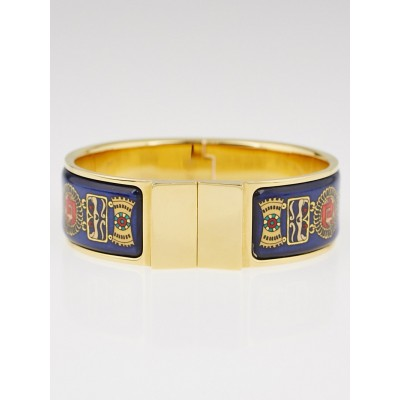 Hermes Blue Printed Enamel Gold Plated Wide Enamel Bracelet