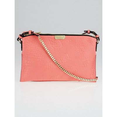 Burberry Pink Grain Check Embossed Leather Peyton Crossbody Bag