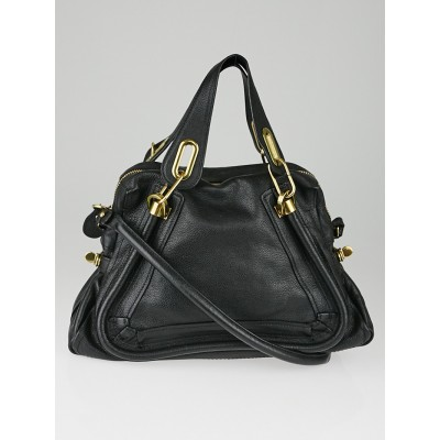 Chloe Black Pebbled Leather Medium Paraty Bag