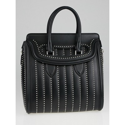 Alexander McQueen Black Padded Leather Studded Large Heroine Bag