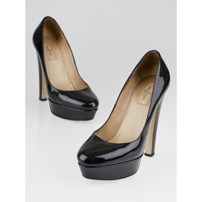 Valentino Black Patent Leather Platform Pumps Size 9.5/40