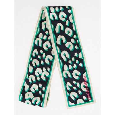 Louis Vuitton Stephen Sprouse Green Leopard Print Silk Bandeau Scarf