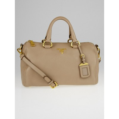 Prada Light Brown Vitello Daino Leather Bauletto Satchel Bag