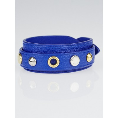 Louis Vuitton Blue Leather Wrap Spike It Bracelet Size 17