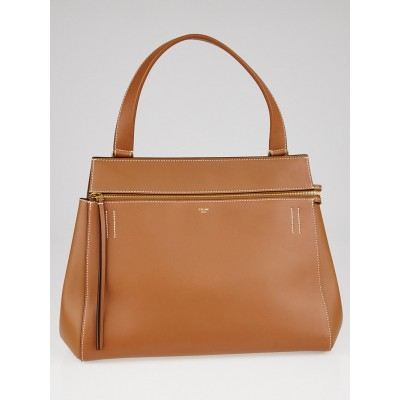 Celine Tan Calfskin Leather Edge Medium Shoulder Bag