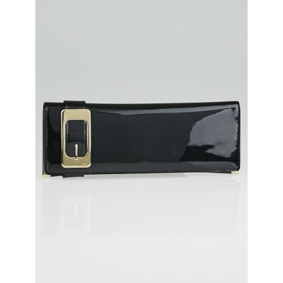 Gucci Black Patent Leather Buckle Long Clutch Bag