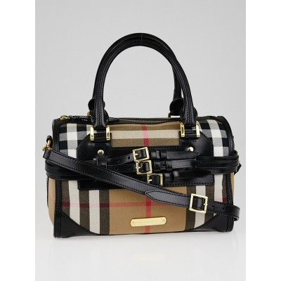 Burberry Black Leather Bridle House Check Canvas Chester Bowling Bag