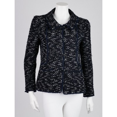 Chanel Navy Blue Wool Blend Tweed Jacket Size 8/40