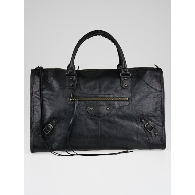 Balenciaga Black Lambskin Leather Work Bag