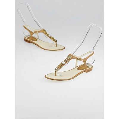 Chanel Brown Leather Charms T-Strap Thong Sandals Size 7/37.5