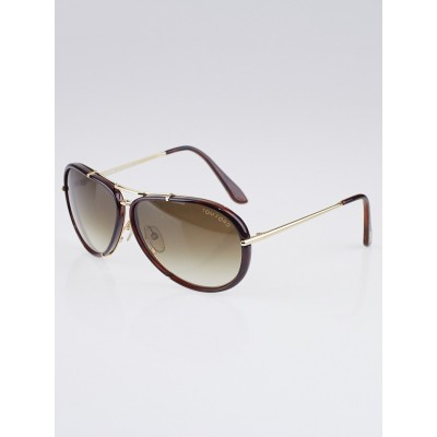 Tom Ford Brown Acetate/Metal Cyrille Aviator Sunglasses-TF109