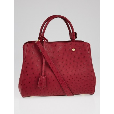 Louis Vuitton Fuchsia Ostrich Leather Montaigne MM Bag