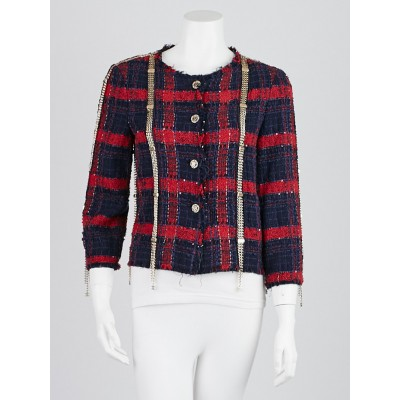 Chanel Red/Blue Cotton Blend Tweed Chain CC Jacket Size 6/38