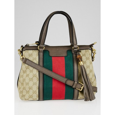 Gucci Beige/Grey GG Canvas Vintage Web Medium Rania Top Handle Bag w/Long Strap