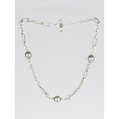 David Yurman Grey Pearl and Sterling Silver Cable Link Necklace